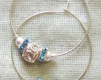 Icy Blue Hoop Earrings
