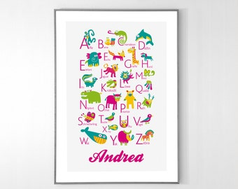 Personalized GERMAN Alphabet Poster with animals from A to Z, BIG POSTER 13x19 inches