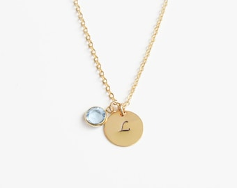 Initial Necklace | Birthstone Necklace | Personalized Necklace | Letter Necklace | Gift for Her | Personalized Jewelry | Mother's Day Gift