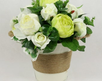 Silk Peony and Roses in Cream Bucket with Rope Handles - in Vase