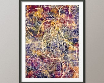 Nashville Map, Nashville Tennessee City Map, Art Print (2985)