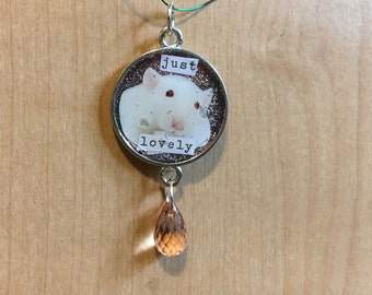 """New Style, Just Lovely, Darling Rat """"Charmers"""" Pendant, White Rat Pendant, 50% of the proceeds goes to the current focus charity"""