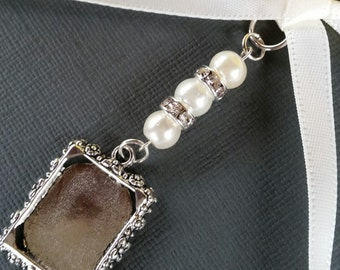 Wedding Bouquet Photo Charm Bridal Photo Frame Charm Oblong Silver Locket Pendant Locket Ivory Pearls & Gift Bag