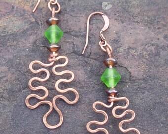 Copper Wire Work Oak Leaf Earrings