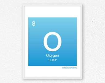 Oxygen element etsy 8 oxygen periodic table element periodic table of elements science wall art urtaz Gallery
