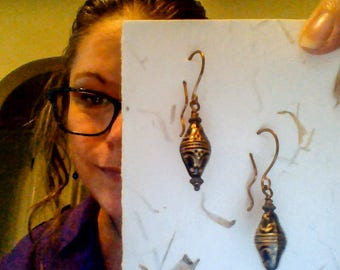 Scrolled Black and Gold Vintage Beaded Artisan Copper Boho Earrings