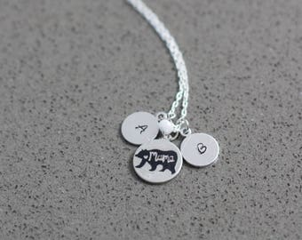 Mama Bear Initial Necklace