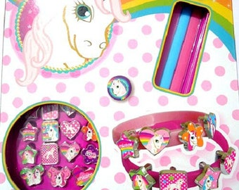 Jewelry KIT DIY 3 pony - pink and blue bracelets - girl - horse - themed animal / animal - easy manual activity