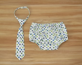 Baby Neck Tie and Diaper Cover: Blue and Green Polka Dots - Other Options Available