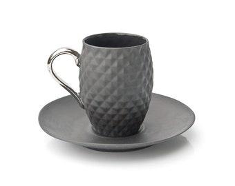 Pineapple cup, Black Espresso Cup and Saucer, Decorative Espresso Set, Ceramic Coffee Set