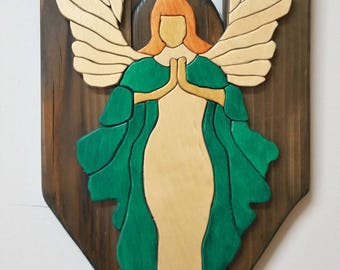 Intarsia wall hang Wood art Angel praying