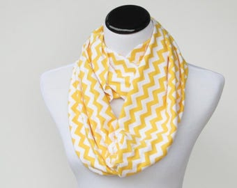 White yellow scarf Yellow chevron infinity scarf zig zag yellow white sunny scarf - circle scarf loop scarf gift idea for her gift for mom