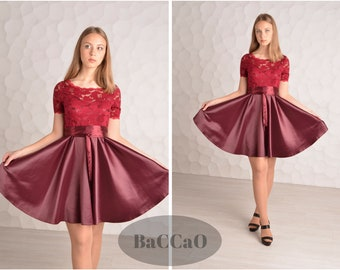 Short burgundy lace dress Short bridesmaid dress Burgundy dress Short burgundy bridesmaid dress Burgundy bridesmaid Dress with short sleeve
