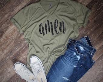 Amen shirt, amen v-neck, olive green amen v-neck shirt, christmas gift