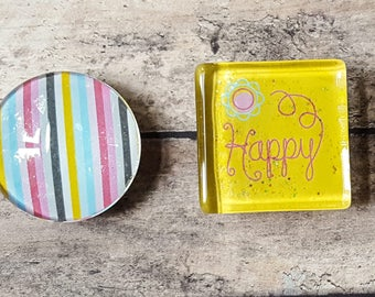 Glass Tile Magnets | Happy Yellow Stripes | Birthday | Third Anniversary  | Refrigerator Magnets | Office Magnets | School Locker Swag