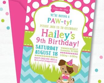 Puppy Birthday Party Invitation, Dog Birthday Party Invitation, Puppy Party, Girl Birthday Invitation, Birthday Party Invitation, Dog Party