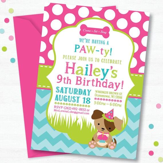 Puppy birthday party invitation dog birthday party like this item filmwisefo Choice Image
