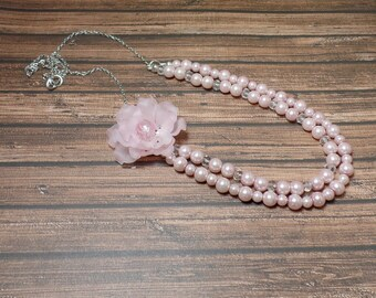 Pink Double Strand Flower Necklace - Lucite Flower Necklace - Pearl Necklace - Free US Shipping
