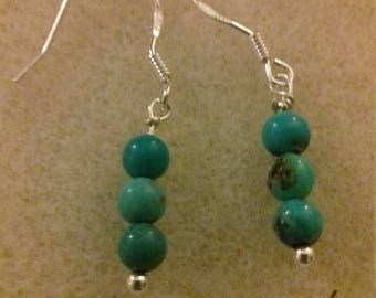 Sterling silver and turquoise Shepherd hook earrings