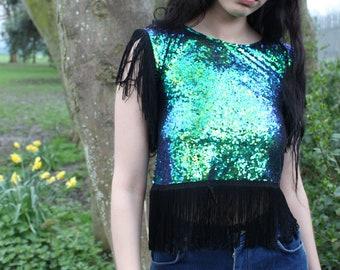 Sequin Crop Top, Mermaid Top, Iridescent top, Green Top , Boho Clothing, Sparkle Crop Top, Festival Top, Sequin, Party Top, Boho Chic, Green