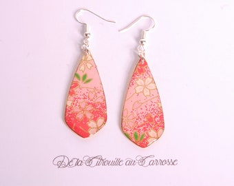 Earrings, cherry blossom, coral, yellow, japanese flowers, floral pattern, japanese style, japanese design