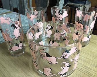 Vintage Mid Century Pink Elephant Glasses and Ice Bucket
