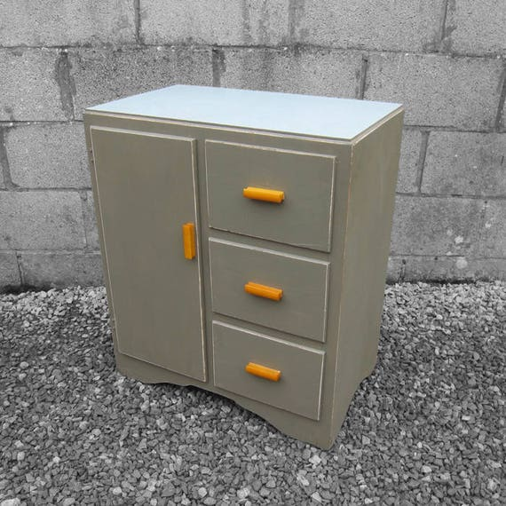 Green 1960s Drawers Formica Kitchen Storage Vintage Painted Cupboard