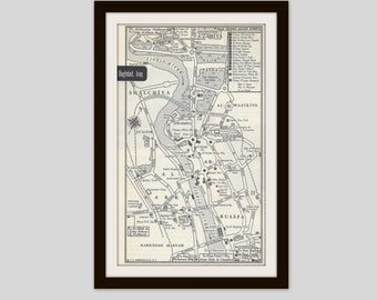 Baghdad Iraq Map, City Map, Street Map, 1950s Middle East, Black and White, Retro Map Decor, City Street Grid, Historic Map