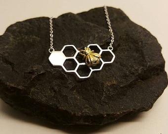 Honey Comb Necklace with Honey Bee