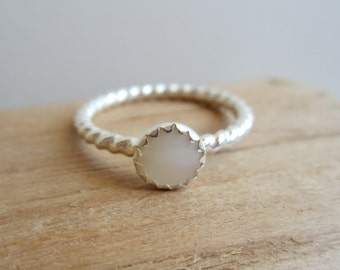 Petite Mother of Pearl Sterling Silver Ring