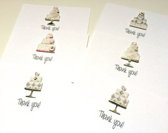 Wedding Shower Thank You Cards with Glittery, Highly Embellished Wedding Cake, made on recycled paper, with envelopes and seal