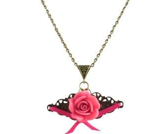 Vintage pink rose antique brass necklace,Pink resin flower and brass filigree pendant necklace, Retro brass jewellery, Vintage boho necklace