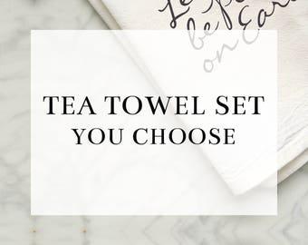 Flour Sack Tea Towel Set (YOU CHOOSE) *Premium Cotton* | Kitchen Towel, Housewarming Gift, Home Decor, Hostess Gift, Gift for Her