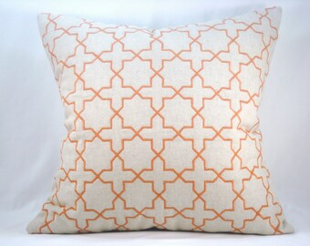 Orange Embroidered Pillow Quilted Pillow Decorative Accent Pillow Toss Pillow 18x18 Pillow