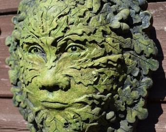 Oak Acorn green man wall plaque