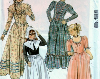 1980s McCall's 2057 UNCUT Vintage Sewing Pattern Girls 18th Century Costume, Pilgrim, Colonial, Frontier, Prairie Size 7
