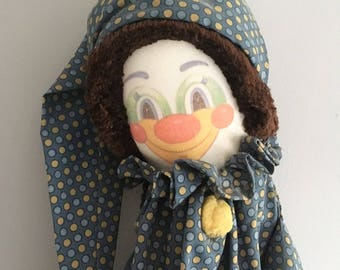 "Handmade Clown pyjama case, vintage 1980's, 28"" tall."