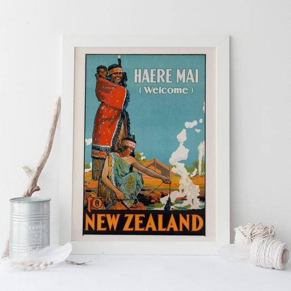 Nueva Zelanda viajes cartel Vintage Art Deco cartel Nueva