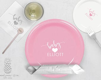 Heart Baby Shower Party Plates, Napkins or Cups | Plastic Cups | Personalized Plastic Plates | Monogram Napkins | Personalized Stir Sticks