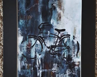 Abstract Bicycle Art print  8 x 10 heavy card stock print with black 11 x 14 matte and heavy card stock backing.