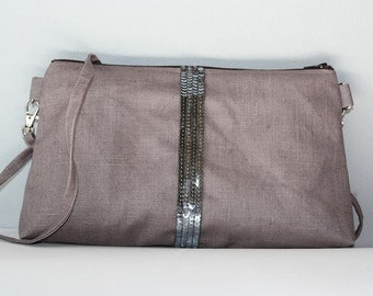 Waxed linen and sequin stripes sling bag
