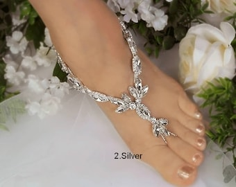 Wedding Barefoot Sandals, Bridal Foot Jewelry, Gold or Silver Plated Rhinestone Foot Jewelry, Footless Sandal, Limited Style -SD012