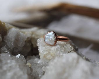 Size 7.5 Pearl Electroformed Ring