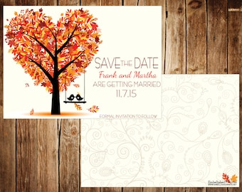 save the date fall postcard double sided