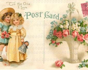 To the one I love Valentine Large digital download Pink Roses vintage Postcard single image ECS buy 3 get one free