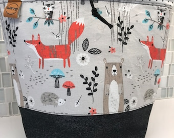 Simple sock sack/project bag forest friends