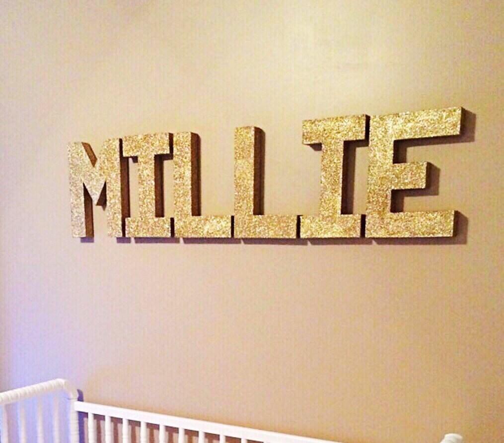 8 inch Paper Mache Letters Nursery Room Wall Decor Wall