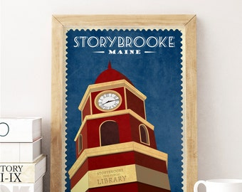 Once Upon a Time TV Show Vintage Travel Poster- Storybrooke Travel Poster - Fictional Travel Poster - Gift for Once Upon A Time Fan