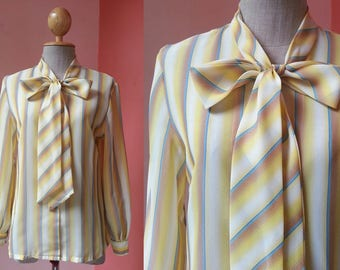 Striped Shirt Women Small   80s Shirt   Vintage Bow Tie Blouse   1980s Blouse   Womens Striped Blouse   Long Sleeve Button Front Blouse S