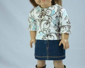 American Girl or 18 Inch Doll Mini SKIRT Denim with Pockets TEE Shirt Top in Blue Brown Print with Necklace and BOOTS Option